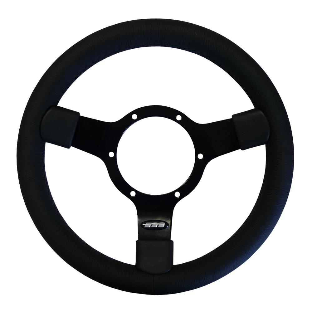 12 Inch Traditional Steering Wheel Black Spokes Leather Rim