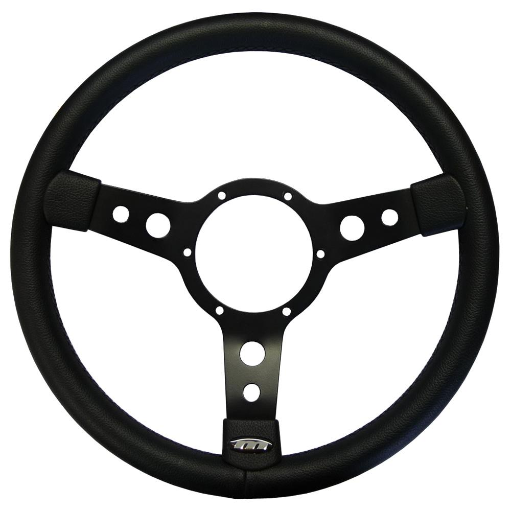 13 Inch Traditional Steering Wheel Black Spokes Leather Rim