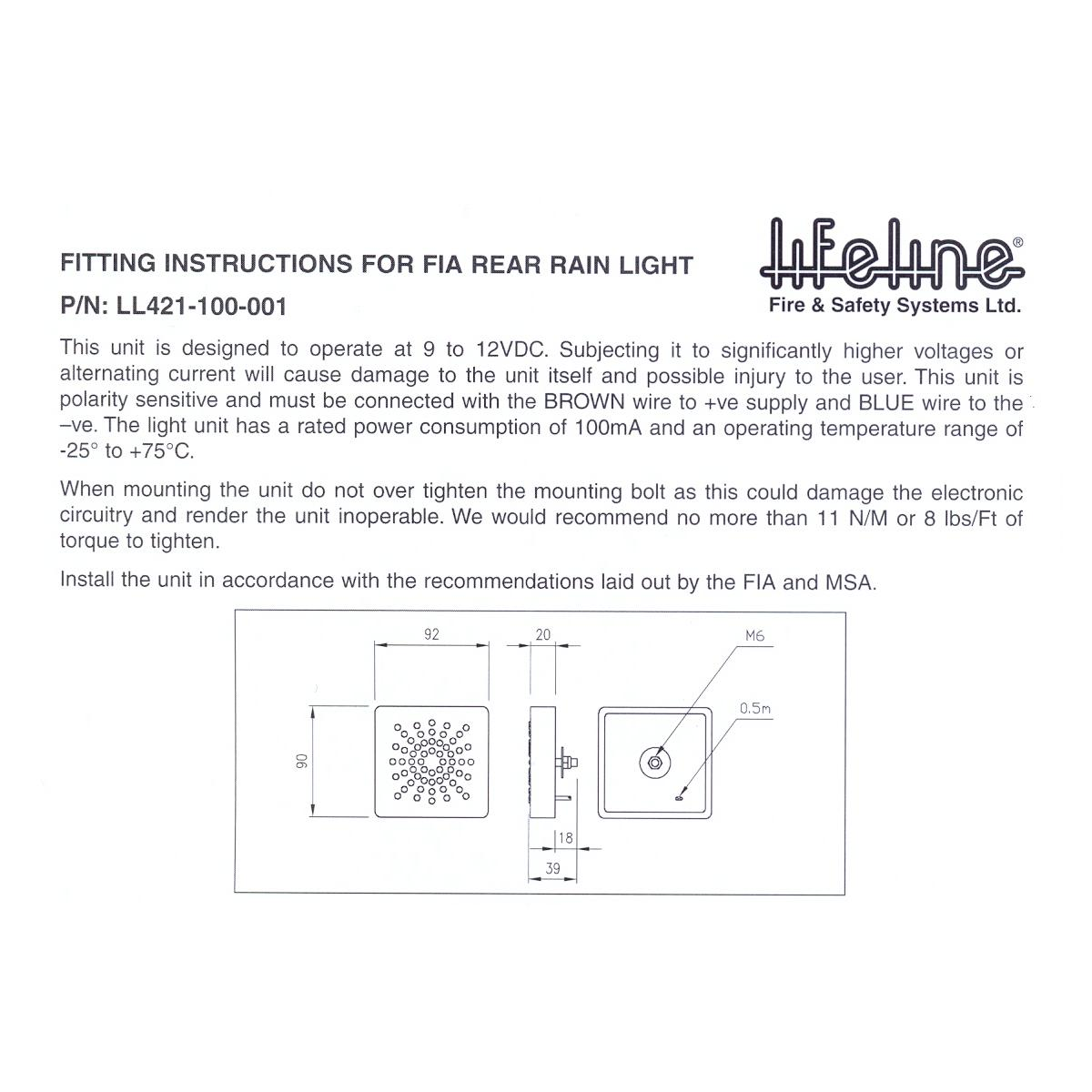 lifeline high visibility msa approved led rainlight from merlin rh merlinmotorsport co uk Light Switch Wiring Diagram Wiring a Switch to a Light Fixture