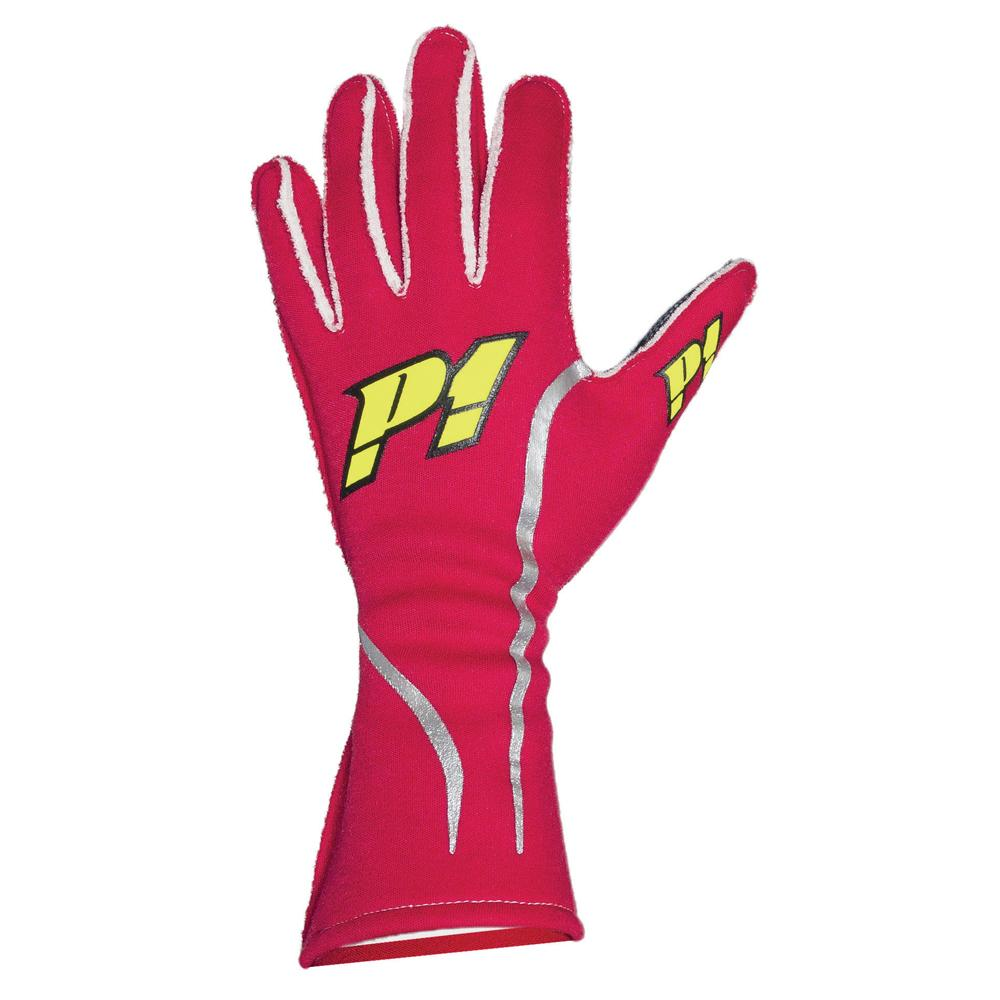 P1 Racewear Grip Race Gloves in Red