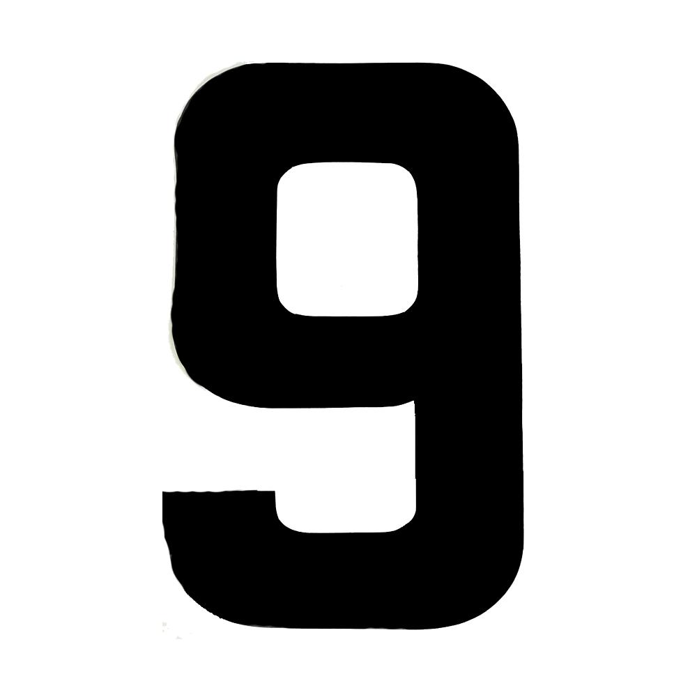 9 inch tall race number 9