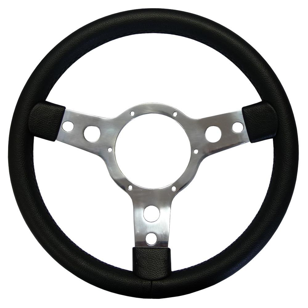 Springalex 14inch Traditional Steering Wheel With Leather Rim