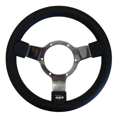 12 Inch Traditional Steering Wheel Polished Spokes Leather Rim