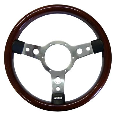 13.5 Inch Traditional Steering Wheel Polished Spokes Wood Rim