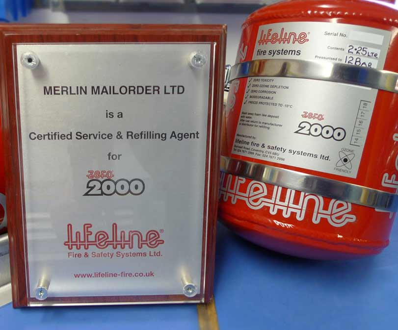 Racing fire extinguisher servicing by Merlin Motorsport
